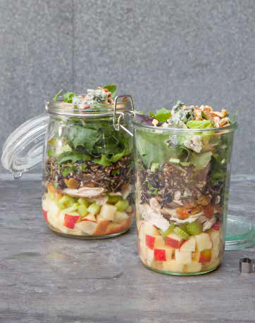 Layered Apple, Wild Rice, and Chicken Salad with Blue Cheese