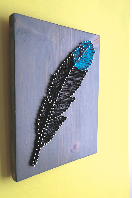 Feather String Art for Wall Hanging - Craftfoxes