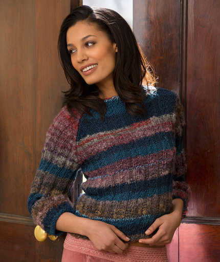 Multi-colored Cropped Sweater (Free Knitting Pattern)