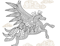 Pegasus Winged Horse Adult Coloring Page