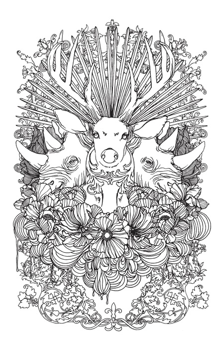Buck and Rhino Adult Coloring Page