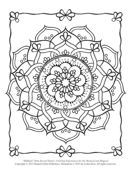 Sacred Flower Coloring Page (Free Adult Coloring Page)