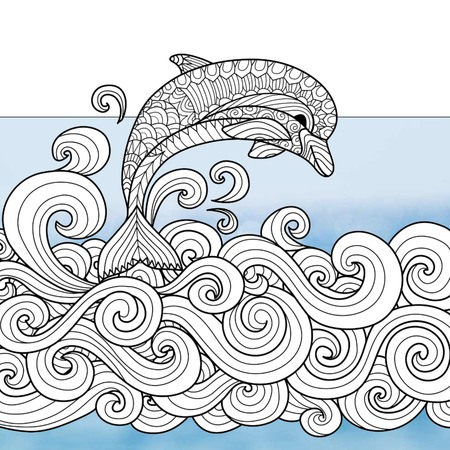 Be Happy Dolphins (Free Adult Coloring Book Page)