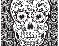 Day of the Dead Skull Mask Coloring Page