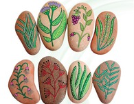 Painted Rocks with Flowers and Plants by F. Sehnaz Bac