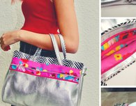 Leather and fabric handbag FREE pattern and tutorial