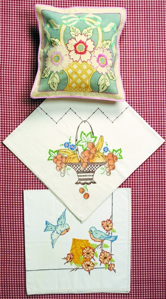 Art Deco Embroidery Pillow Patterns with Birds, Flowers and Fruit
