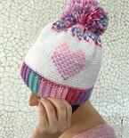 Heart Showers Beanie | Valentine's Day Hat | Crochet Pattern