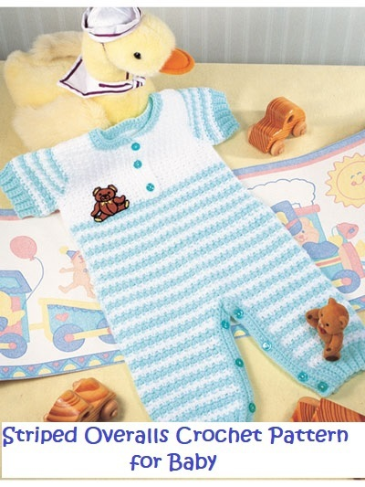 Crochet Striped Baby Overalls Outfit Crochet Pattern Craftfoxes