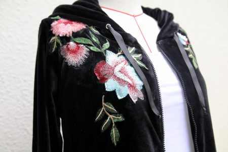 Floral Embroidered Velvet Hoodie Pattern