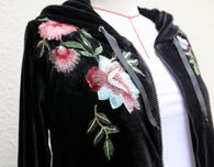 Floral Embroidered Velvet Hoodie Pattern