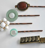 Refashioned Hairpins with Buttons and Jewels