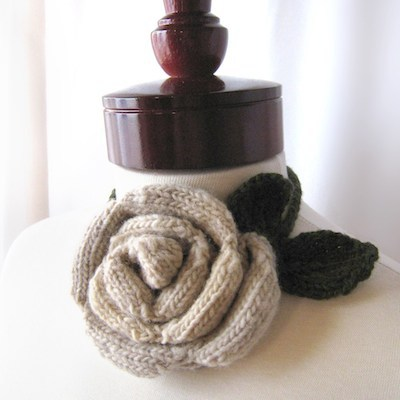 knitted blooming rose