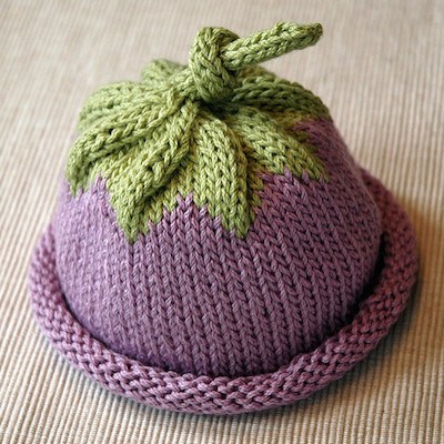 knitted berry baby hat