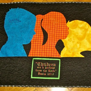 fabric silhouette kid quilt