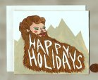 Hand-painted quirky holiday card featuring bearded man.