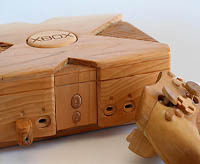 wooden xbox sculpture