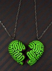 broken heart brain bff necklace