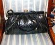 black patent snake purse