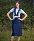 navy linen pencil skirt