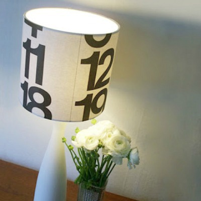 upcycled calendar lampshade