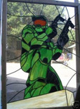 faux stained glass window of master chief