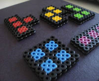 tetris blocks made from perler plastic beads