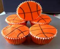 textured basketball march madness cupcakes