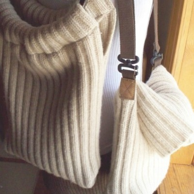 upcycled sweater tote bag