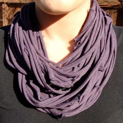 upcycled t-shirt scarf necklace
