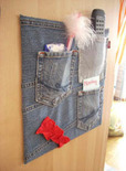 upcycled denim jean message board cover