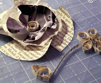 upcycled old book brooch