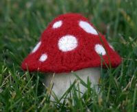 felted knit mushroom decor