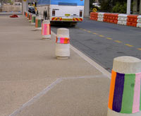 yarn bombing concrete pillars