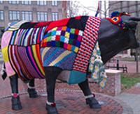 yarn bombing cow