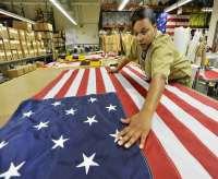 prisoners sew American flag