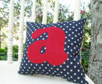 4th of july holiday monogram cushion