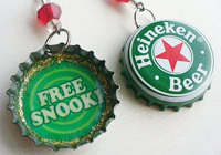 Free snooki Heineken bottle cap earrings