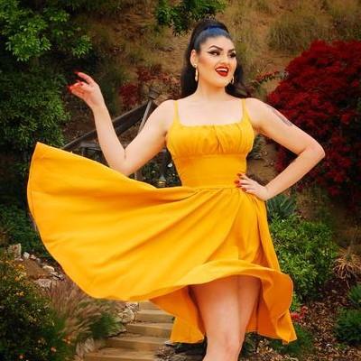 Figure Flattering Color Block Vintage Dress