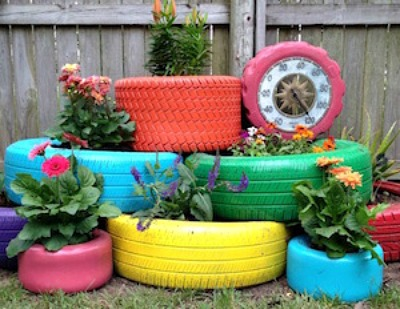 painted tire garden