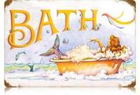 retro mermaid bath sign