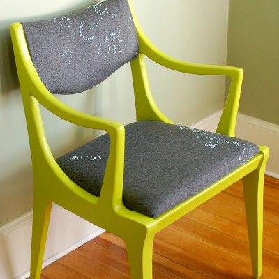 Modern chair makeover with bright green paint