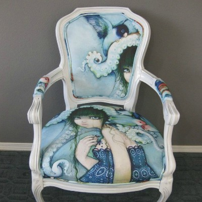 furniture makeover featuring painted chair cushion
