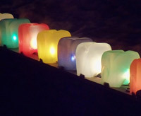 milk jugs made into lanterns