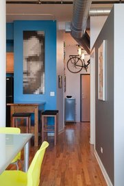pixelated portrait wall art with paint samples