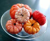 autumn craft idea featuring glittered pumpkins