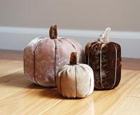 autumn craft idea featuring velvet pumpkin pillows