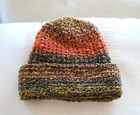 Autumn craft idea featuring fall colored knit hat