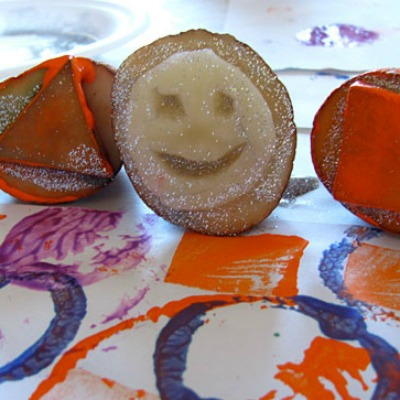 Halloween crafts featuring potato stamps
