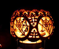 spider web pumpkin carving idea